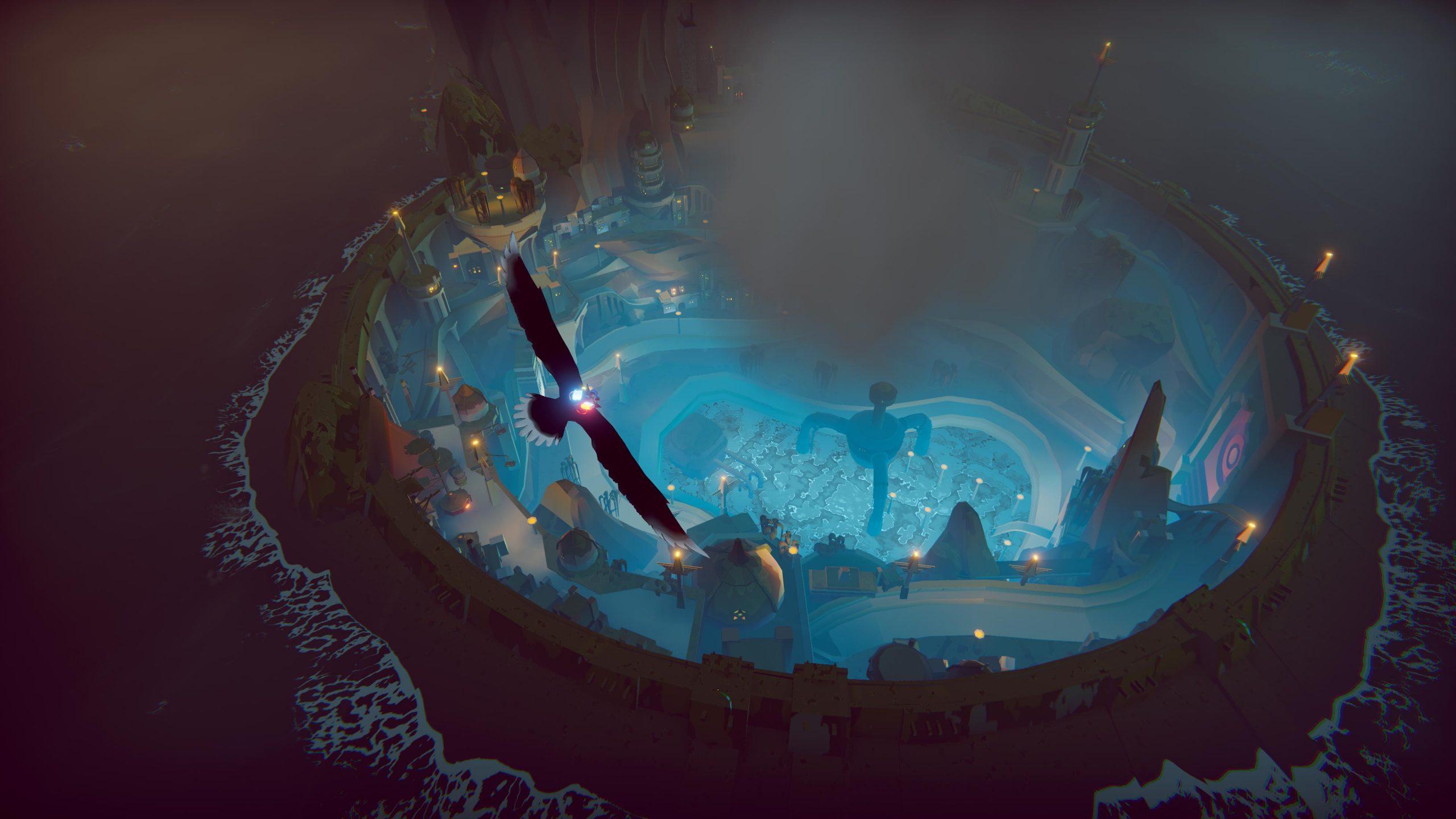 The Falconeer, vista dall'alto di un avamposto.
