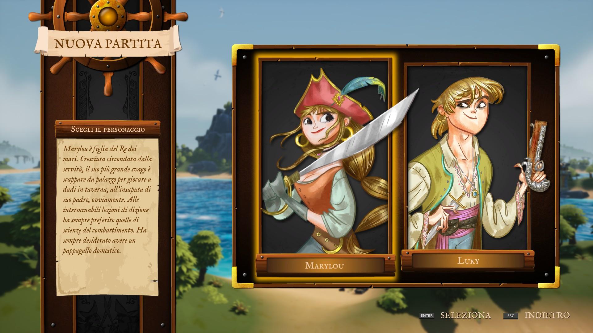 King of Seas, scelta del personaggio.