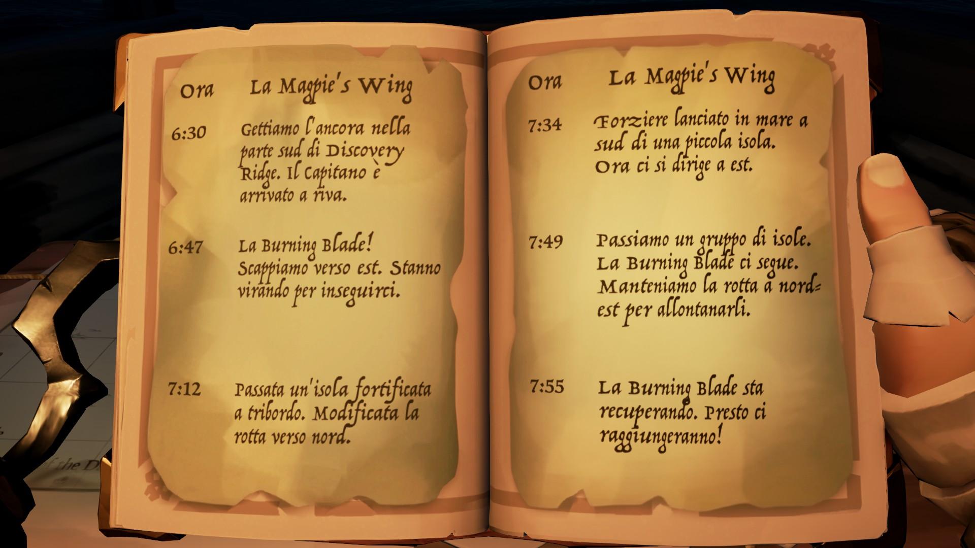 La Shroudbreaker, le indicazioni della rotta della Magpie's Wing.